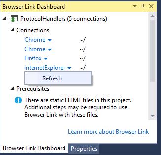 Browser Link Dashboard Refresh browser