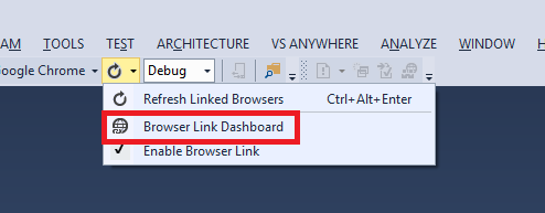 Browser Link Dashboard menu