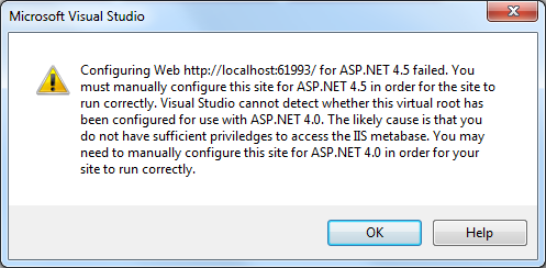 Configuring Web failed