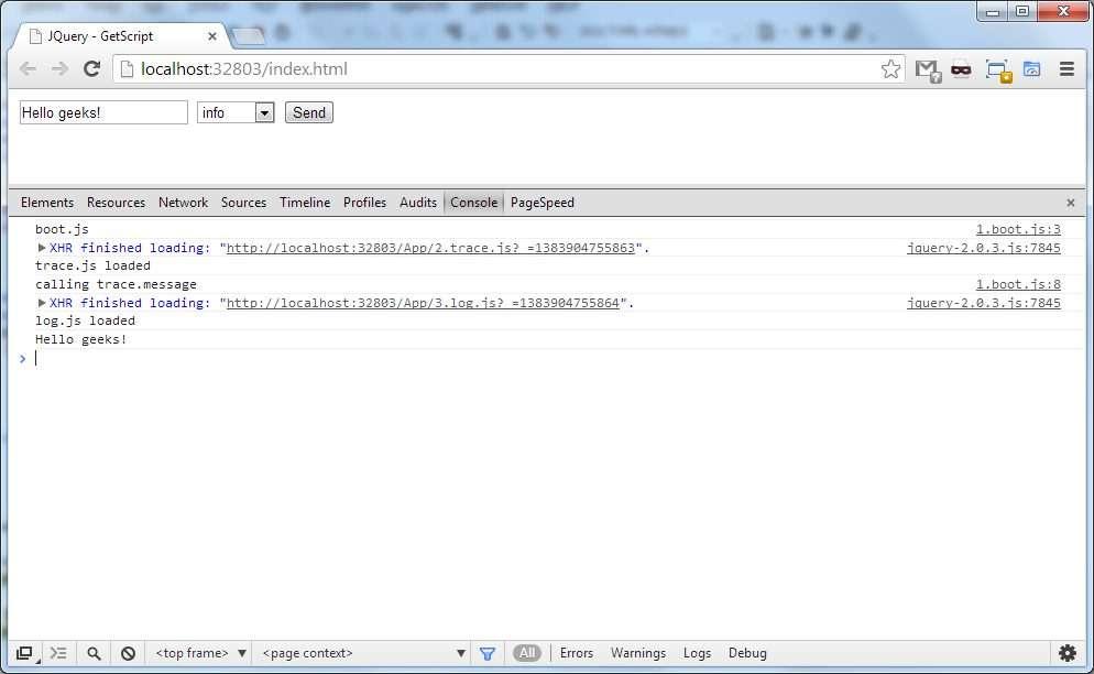 JQuery getScript Test