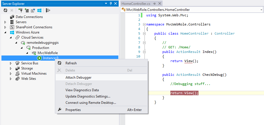 Attach Debugger Windows Azure instance