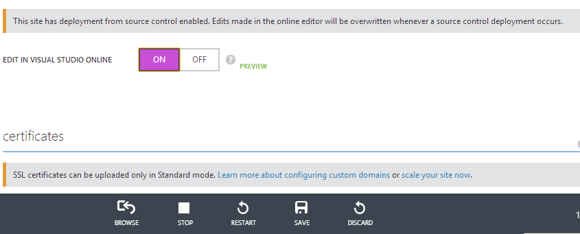 Edit in Visual Studio Online Azure Web Site