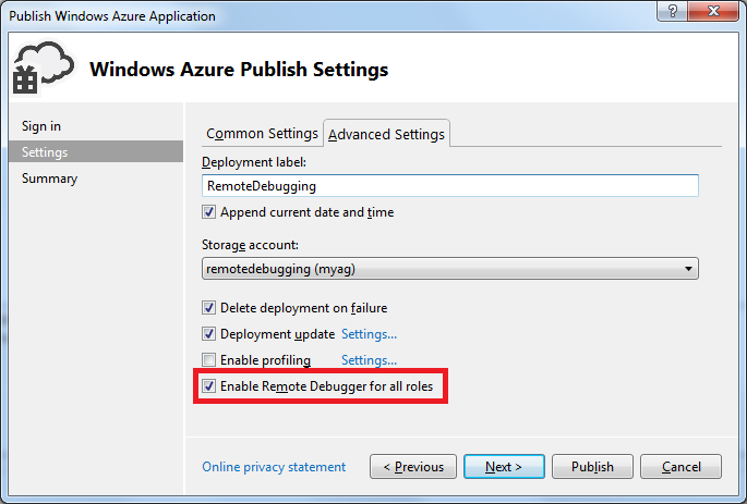 Enable Remote Debugger for all roles