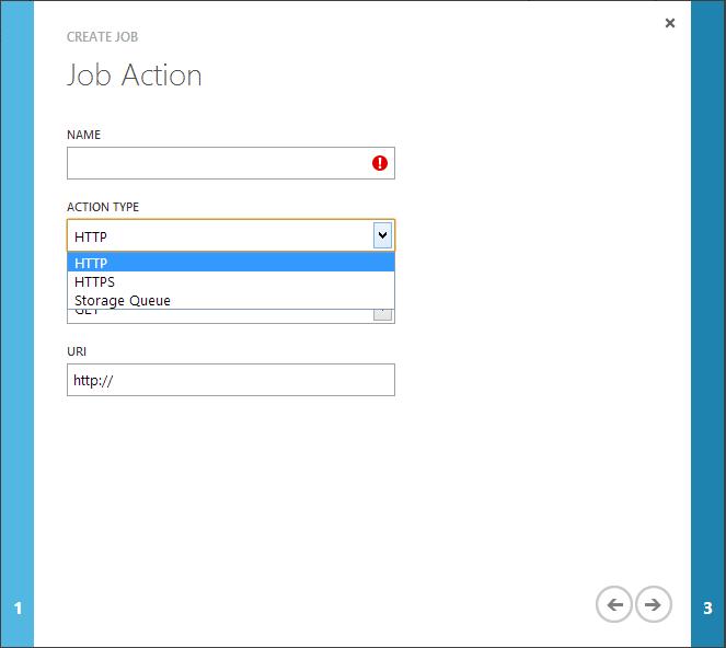 Job action Windows Azure Scheduler