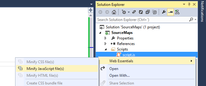 Web Essentials Minify JavaScript file with source map