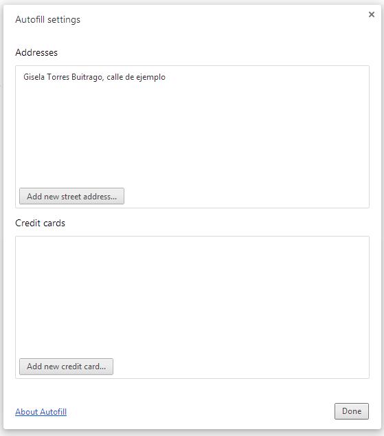Autofill settings chrome configurations