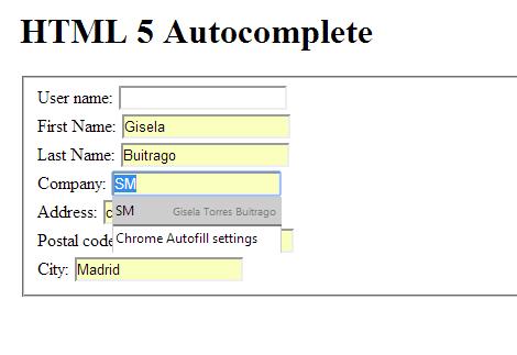 Chrome Autofill settings
