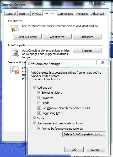 IE Autocomplete settings