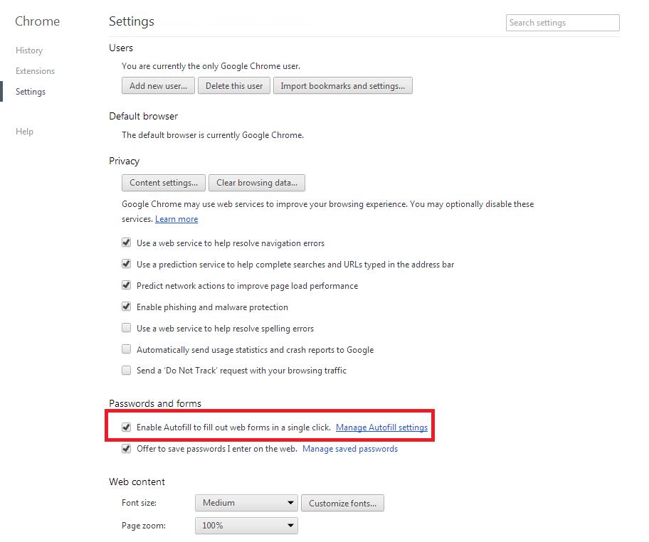Manage Autofill settings