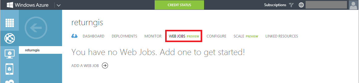 Web Jobs section WA Web Sites