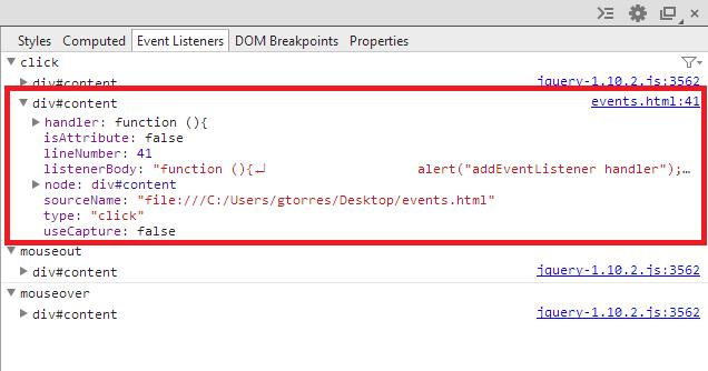 Chrome Event Listeners tab