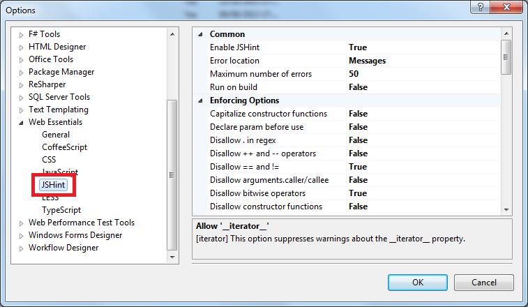 JSHint configuration Web Essentials