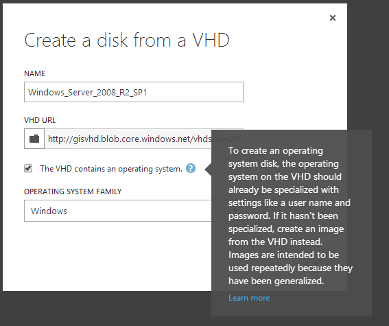 Create a disk from a VHD non generalized