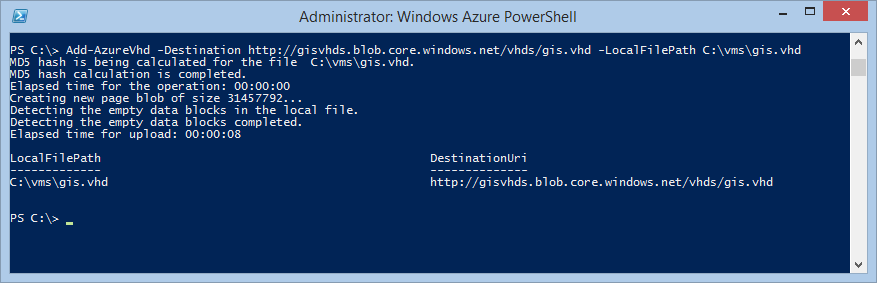 vhd uploaded Windows Azure Powershell