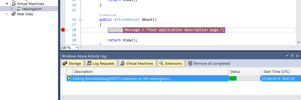 Adding RemoteDebugVS2013 extension to VM returngivm