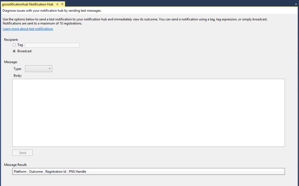 Notification Hubs Send Test Notifications Visual Studio