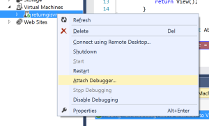 Server Explorer VM Attach Debugger