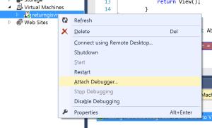 Server Explorer VM Attach Debugger