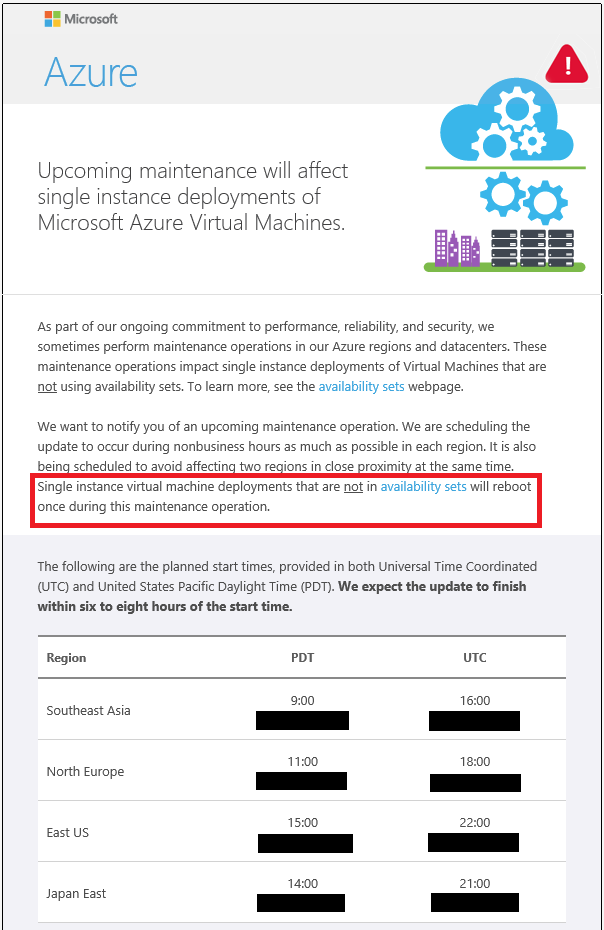 Upcoming maintenance Microsoft Azure