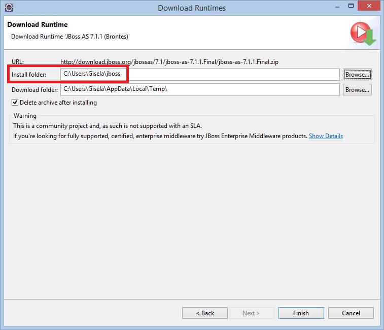 Download runtime Install folder