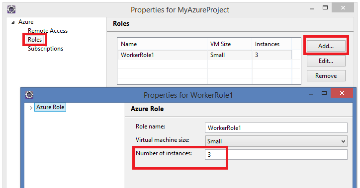 Properties for WorkerRole1