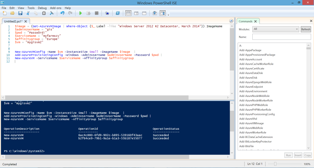 VM creation Powershell