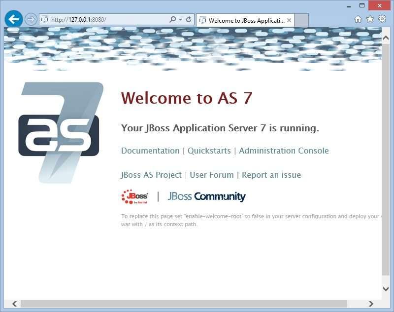 Your JBoss Application Server 7 is running on Microsoft Azure Emulator