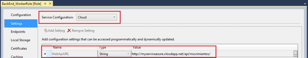 Service Configuration Cloud Production