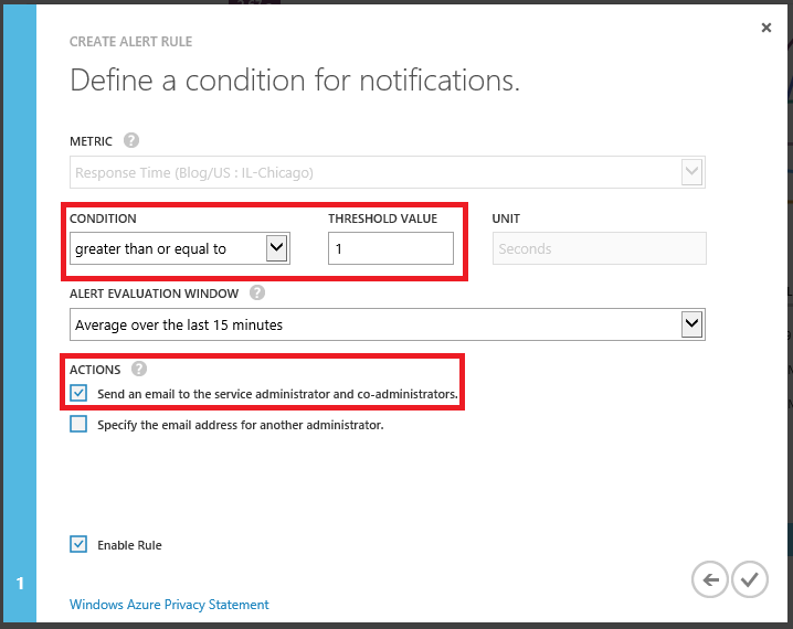 Condition for notifications