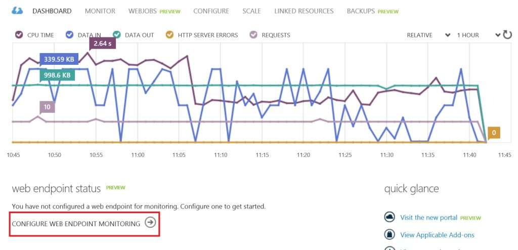 Configure web endpoint monitoring