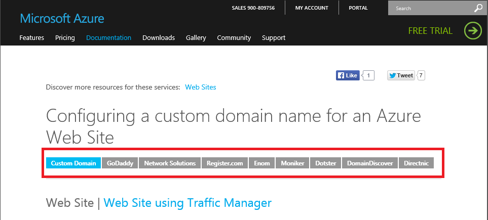 Configuring a custom domain name for a Azure Web Site