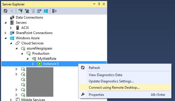 Connect using Remote Desktop... Cloud Services