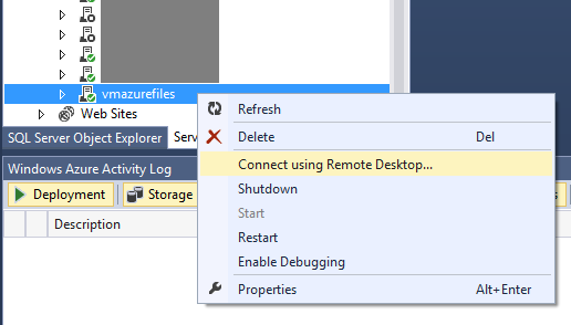 Connect using Remote Desktop... Virtual Machines