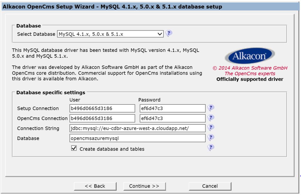 MySQL Database setup OpenCMS