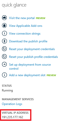 Virtual IP Address for Azure Web Site