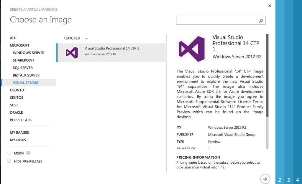 Visual Studio 14 on Microsoft Azure