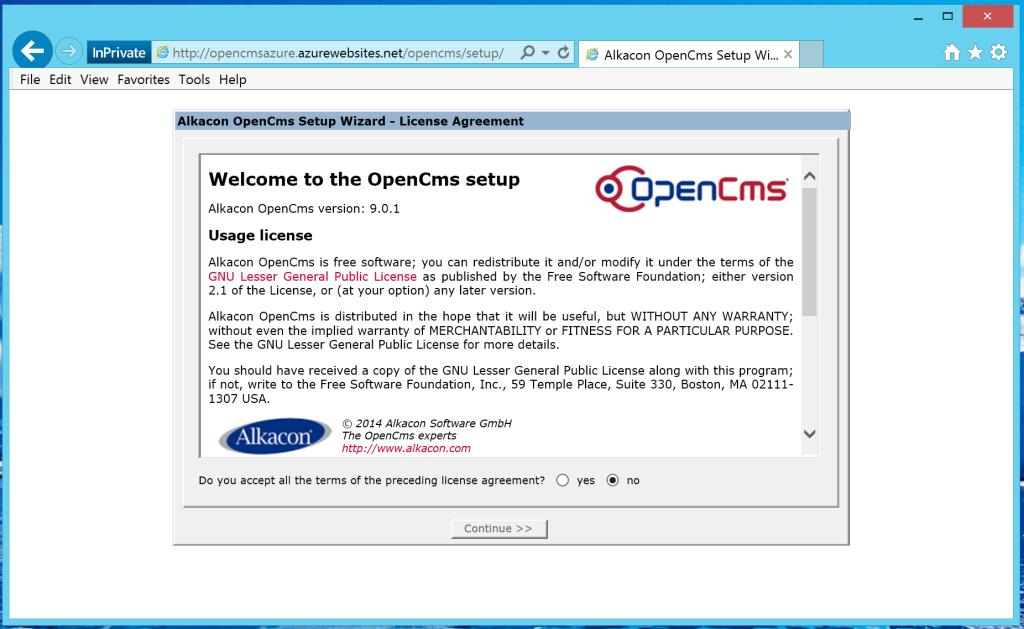 opencms setup