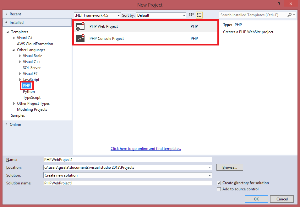 PHP Tools for Visual Studio 2013 templates