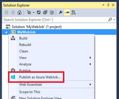 Publish as Azure WebJob