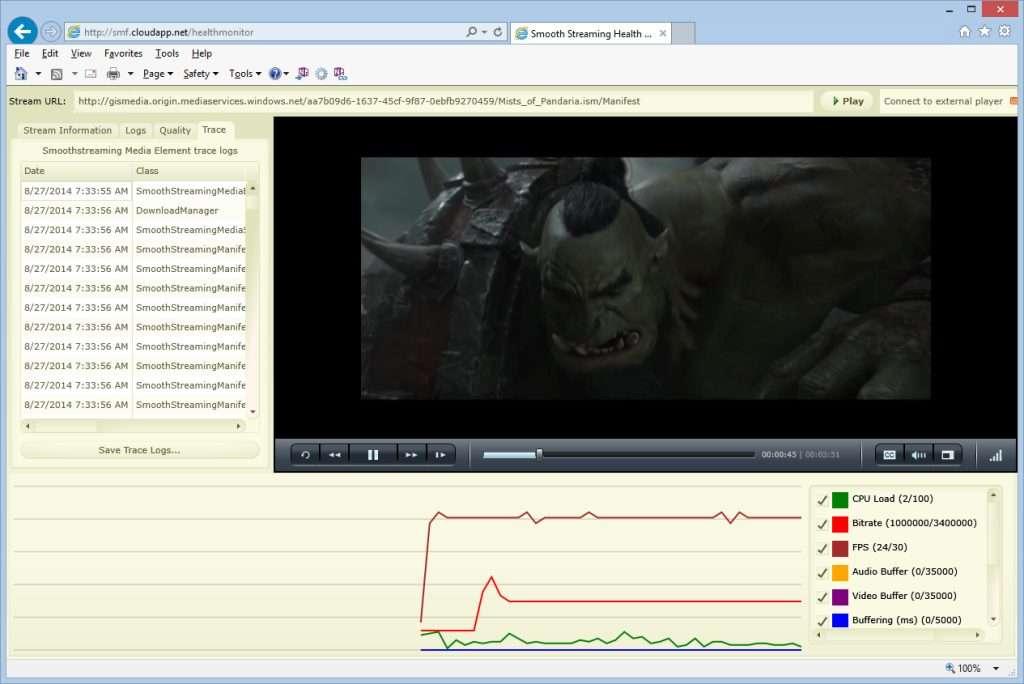 Smooth Streaming Health Monitor
