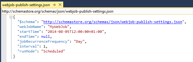 webjob publish settings json