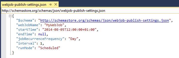 webjob publish settings json