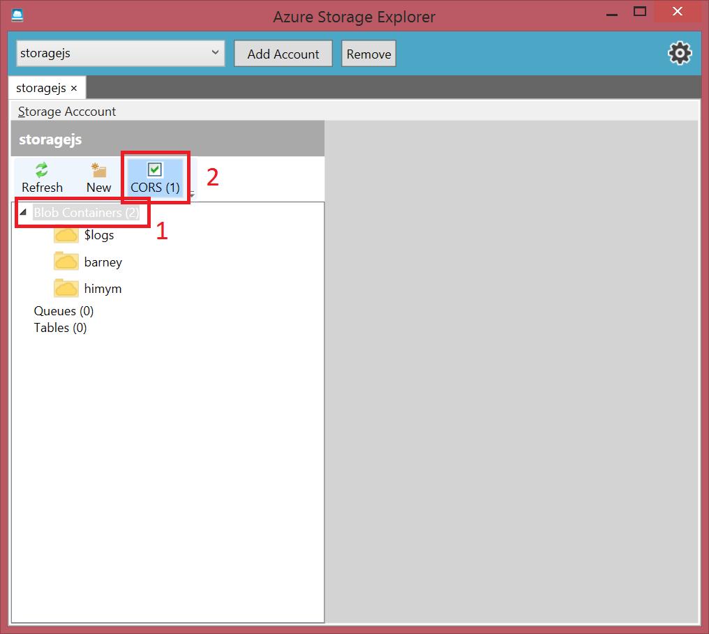 Azure Storage Explorer Check CORS