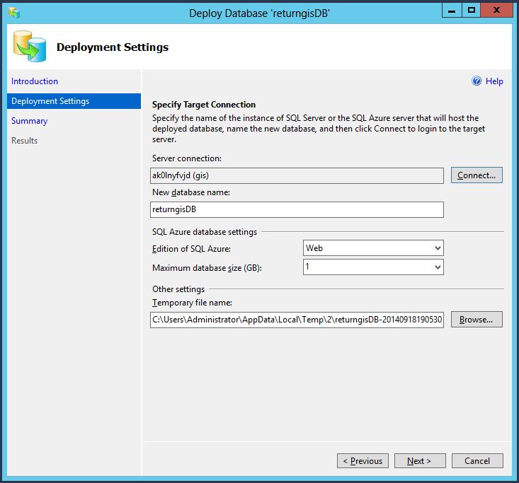 Deployment Settings Azure SQL Database