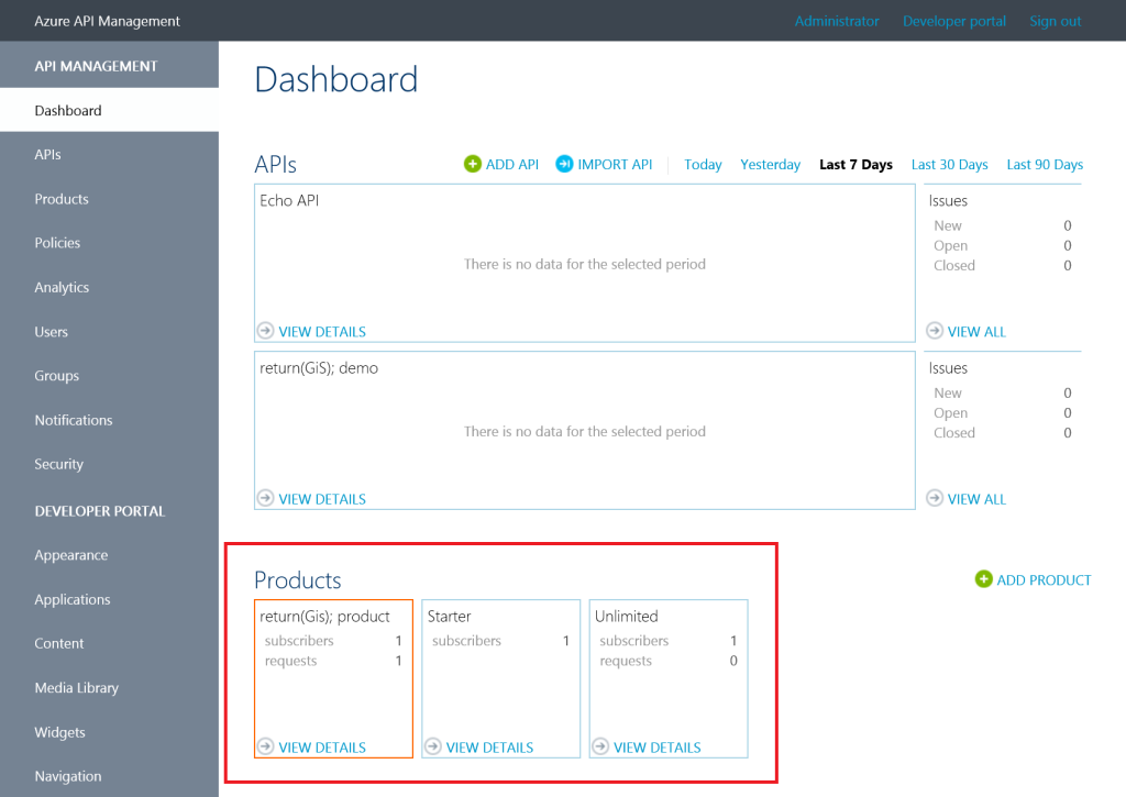 Api Management Dashboard Alert Product Request