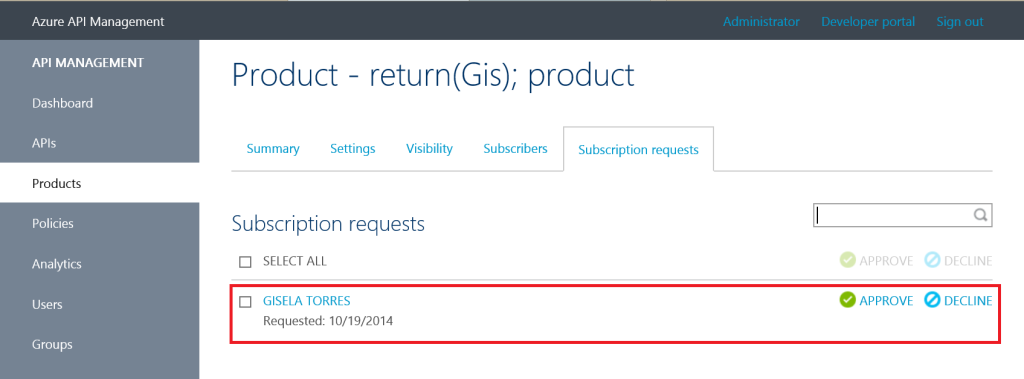 Api Management Suscription Request