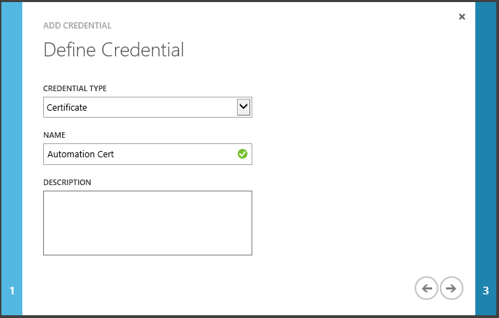 Automation ADD CREDENTIAL Define Credential