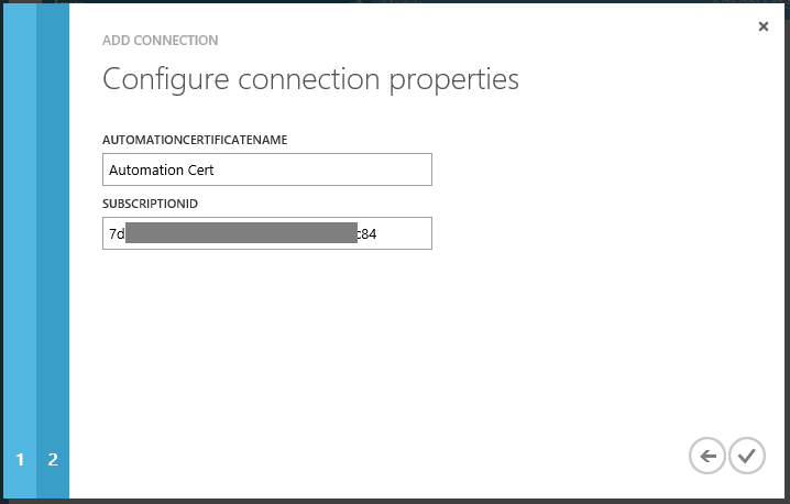 Automation Add Connection Configure connection properties