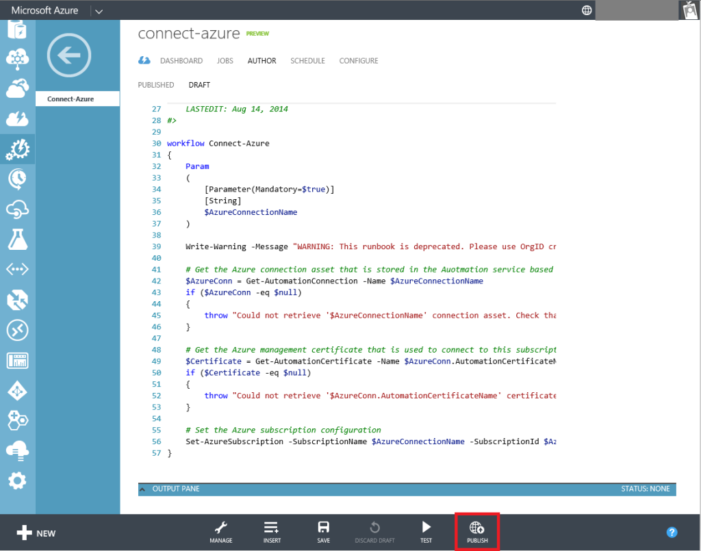 Automation Connect-Azure Runbook