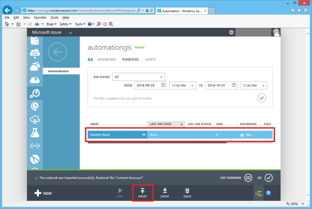 Automation IMPORT runbook